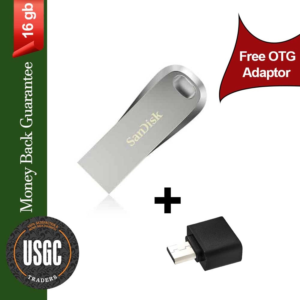 SanDisk 16/32/64 GB Ultra Luxe High Speed Flash Memory Stick USB Drive, Speed Up to 150MB/s - FREE OTG Adapter - Pen Drive, SanDisk IMPORTED USB in Metal | 6 Months WARRANTY
