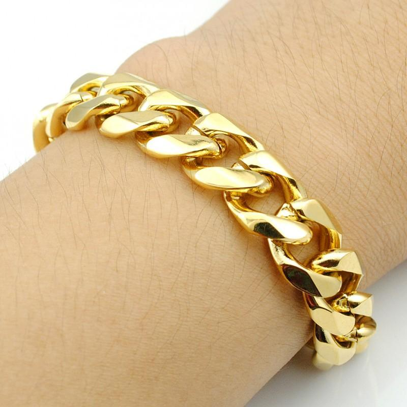 186df585965b2 1 x Fashion Golden Alloy Hand Chain For Men