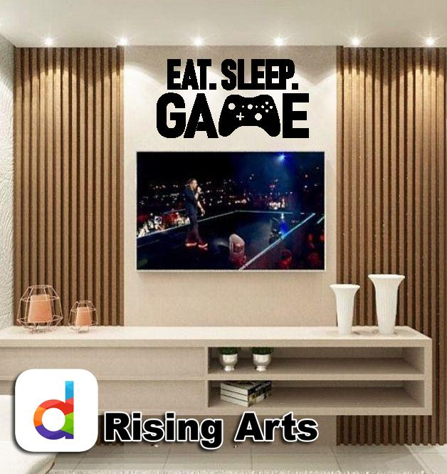 Eat Sleep Game Wall Sticker For Gaming Room Decor Lovers , Black Color - 2 x 1 Feet