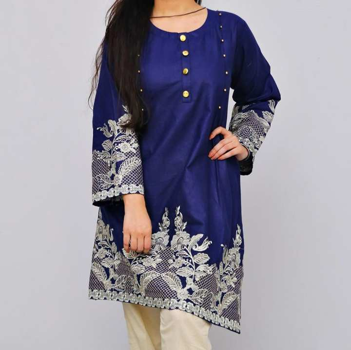 Frock Style Traditional Embroidered Short Sleeves Navy Blue Lawn Top