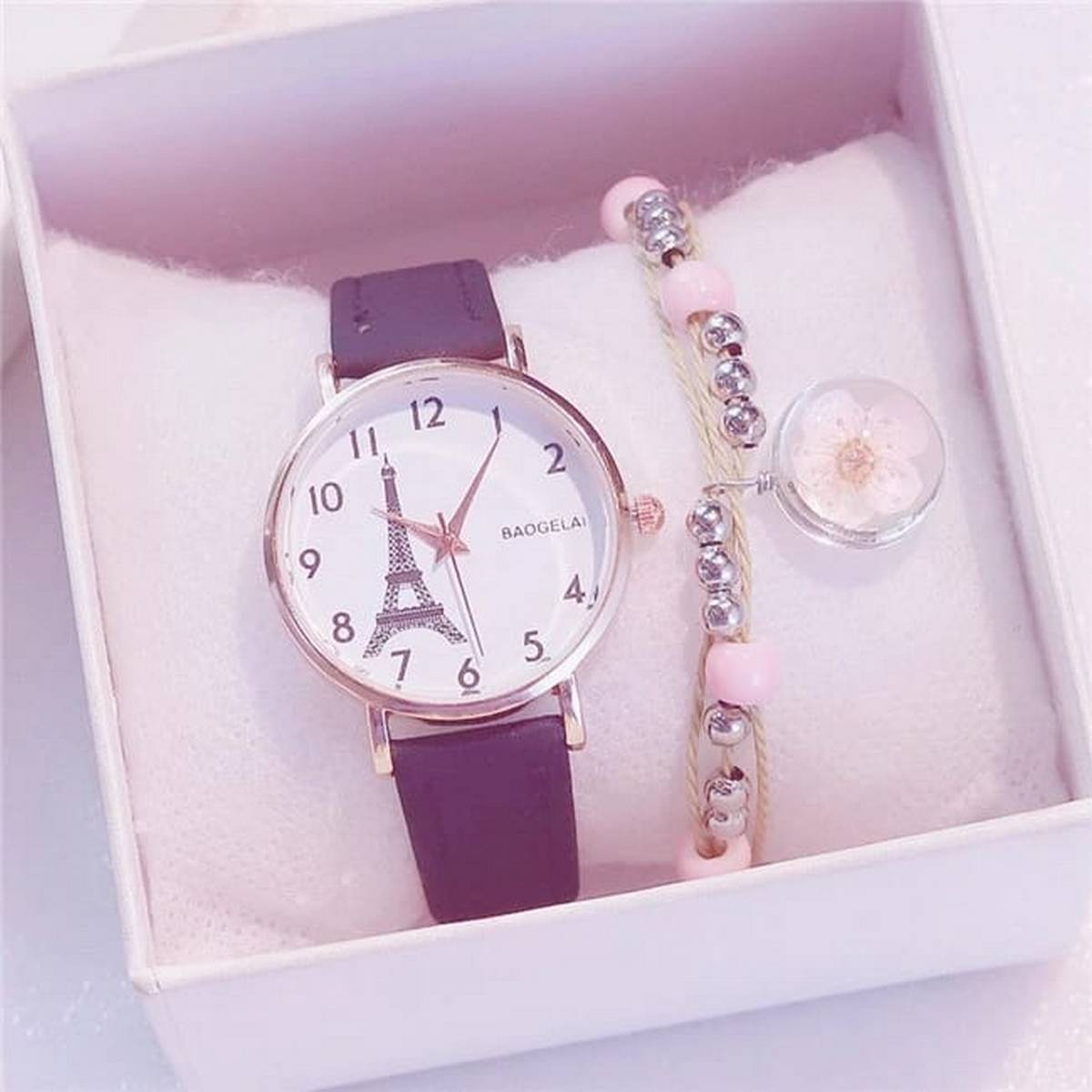 Women Watches Ladies Romantic Tower  Watch Casual Leather Quartz Wristwatches Clock With Free Gift Box