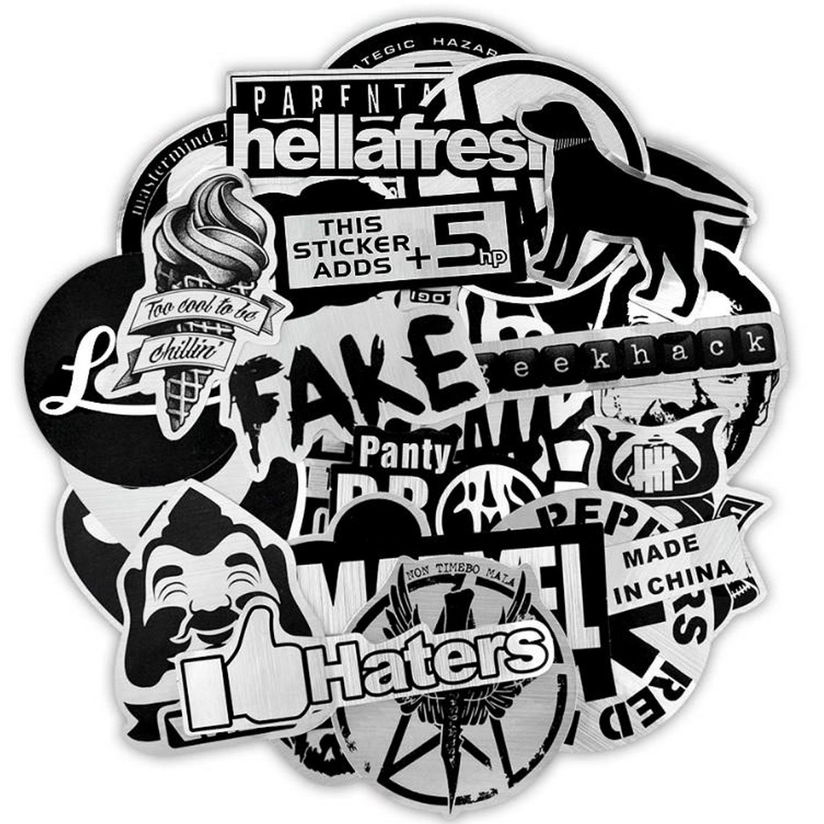 10 Pcs/Pack Metallic Color Black and White Funny Punk Mixed Waterproof Stickers for TV PC Laptop Car Bike Skateboard Guitar