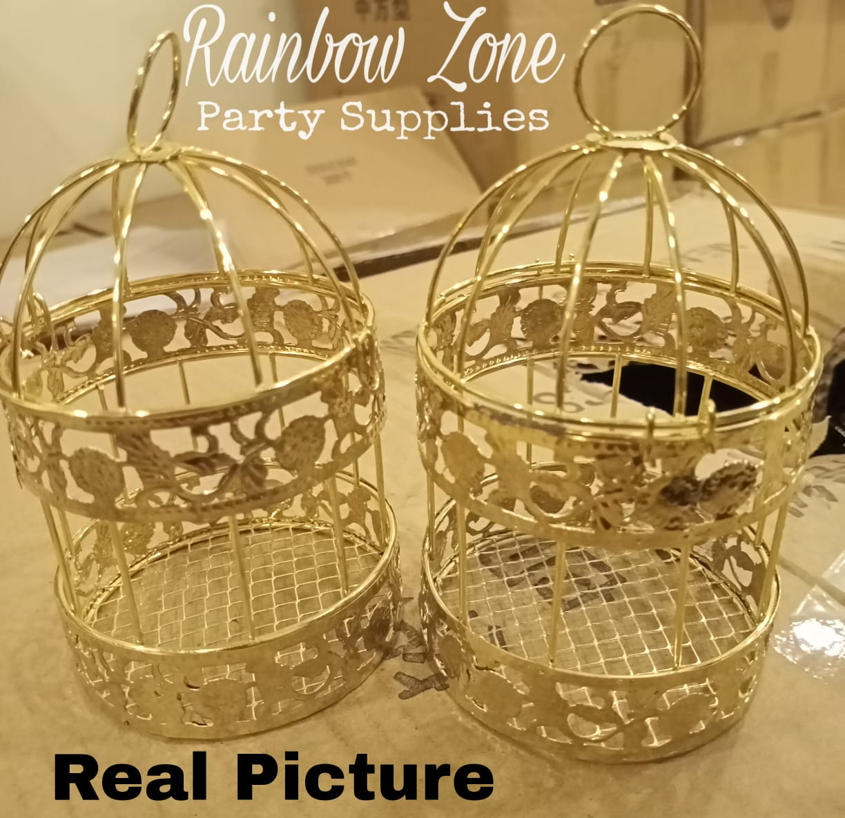 Mini Iron Golden Cages 1 Piece 4 Inch Height / 2.5 Inch Diameter / Candle Holder / Candy Gift Boxes / Wedding Favor Boxes / Bidh Distributing