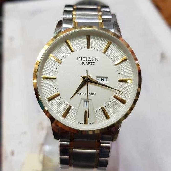 56f9689100c Citizen Eco-Drive Day-Date Adjust Men's Watch Silver Gold Men Women