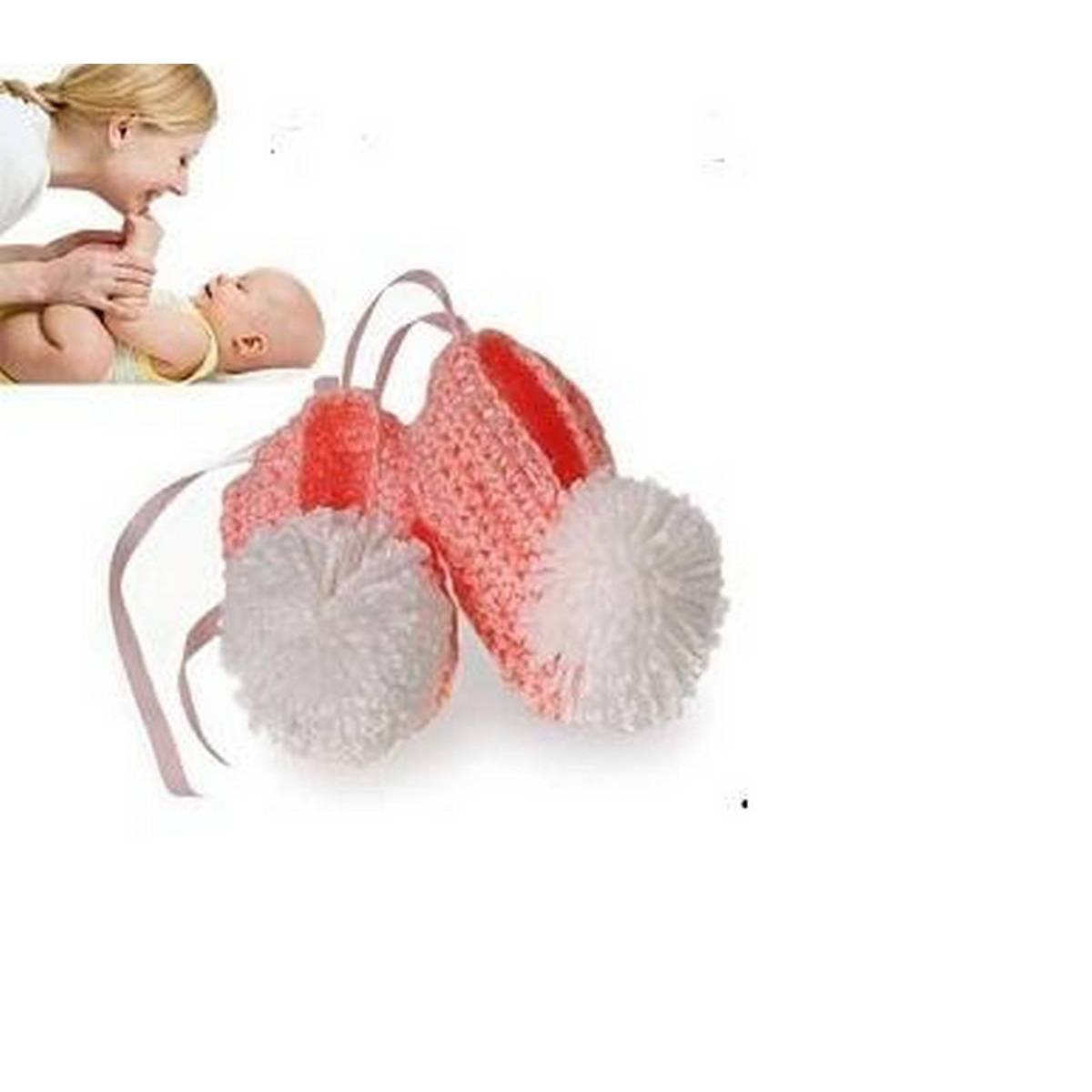 Lovely Woolen Handmade Crochet Baby Winter boots for 1,2, months Pink and White Balls