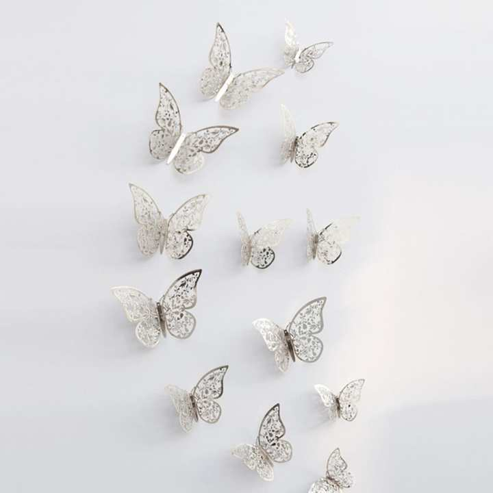 Set Of 12 - 3D Butterfly Hollow Wall Stickers - Silver