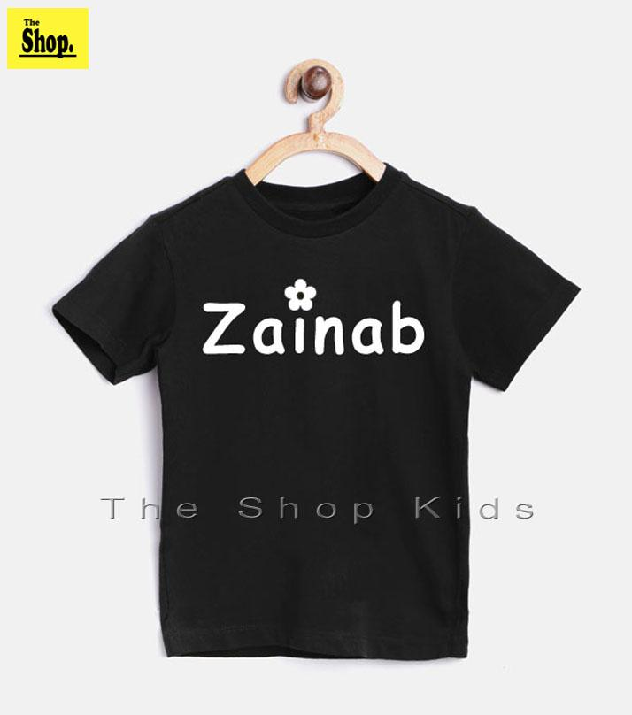 The Shop - Black T-shirt Zainab Name Printed For Girls - Bt-zn2