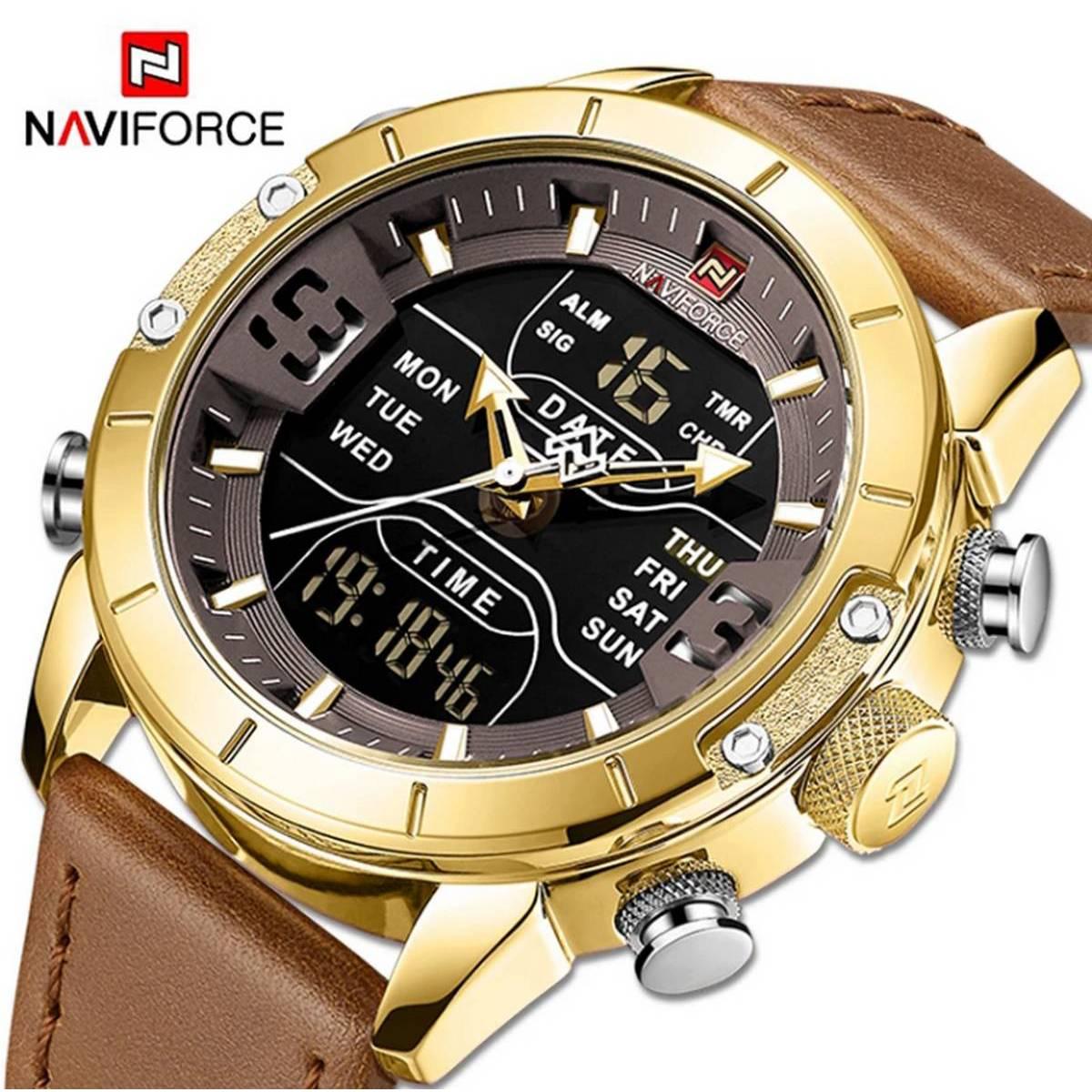NAVIFORCE 9153 Japan Movement Dual Display Leather Straps Quartz Waterproof Men's Watch With Brand Box