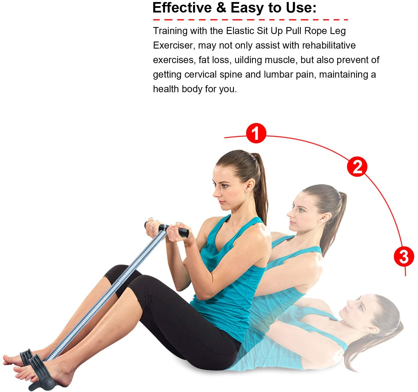 """Be Strong 11"""" 15"""" Foot Pedal Elastic Pull Expandable Spring Tension Fitness Equipment Bodybuilding Expander with Handle for Abdomen - Waist - Arm - Leg Stretching Slimming Training"""