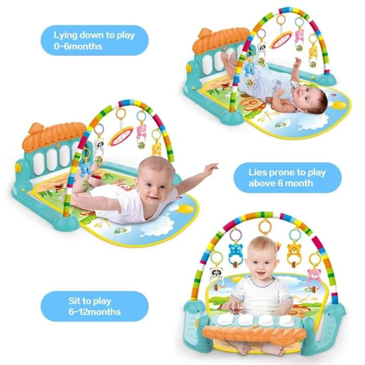 Huanger - 3 In 1 Newborn Baby Play Gym Piano Fitness Rack Mat