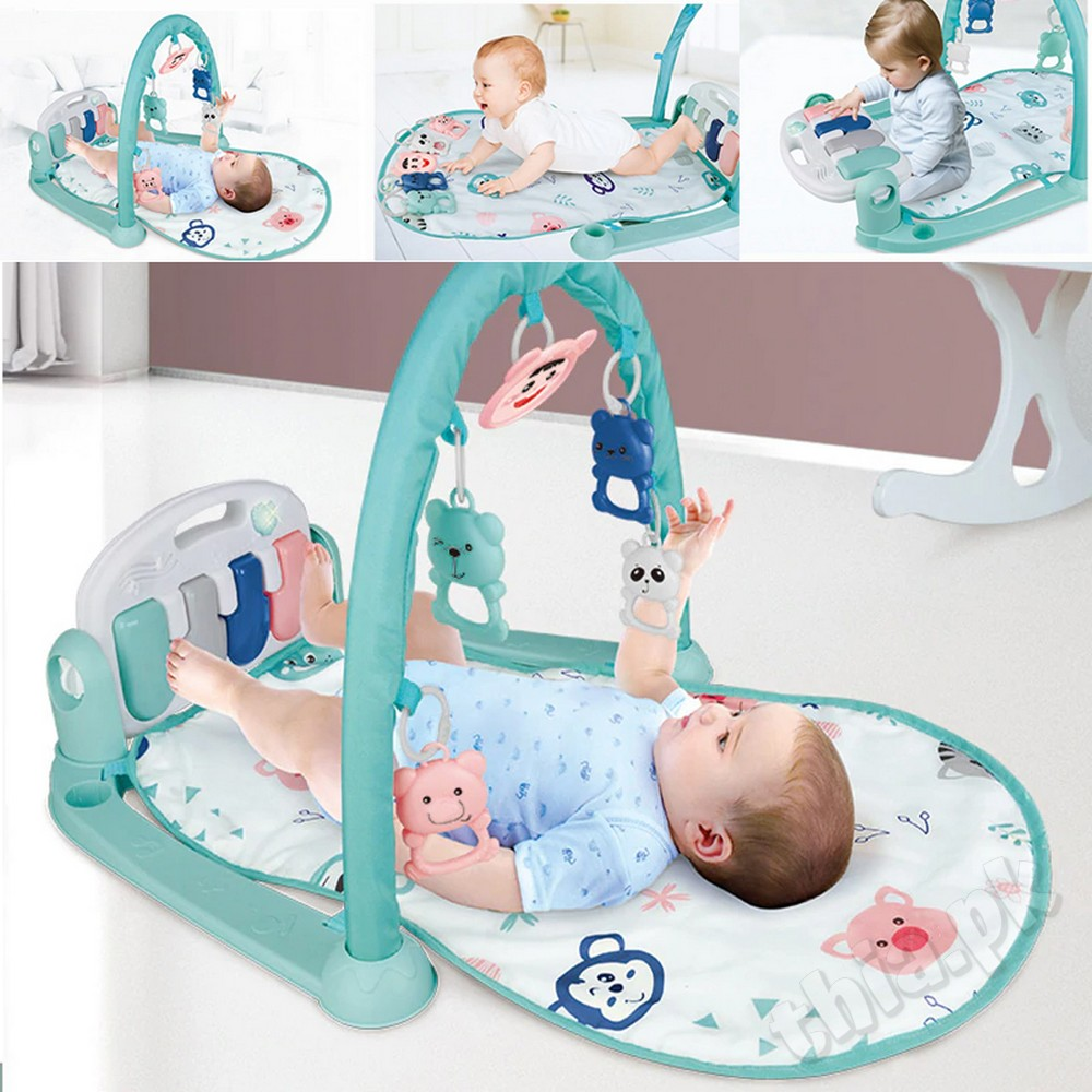 Best Quality New Style Multi-Function 4 in 1 Baby Play Gym Mat Puzzle Carpet Music With Piano Keyboard and Remote Green Educational Rack Gym Toys Infant Fitness Crawling For Kids Fitness Rack Rug Kid Infant Playing Toy Toddler Nursery Gift Boy Girl