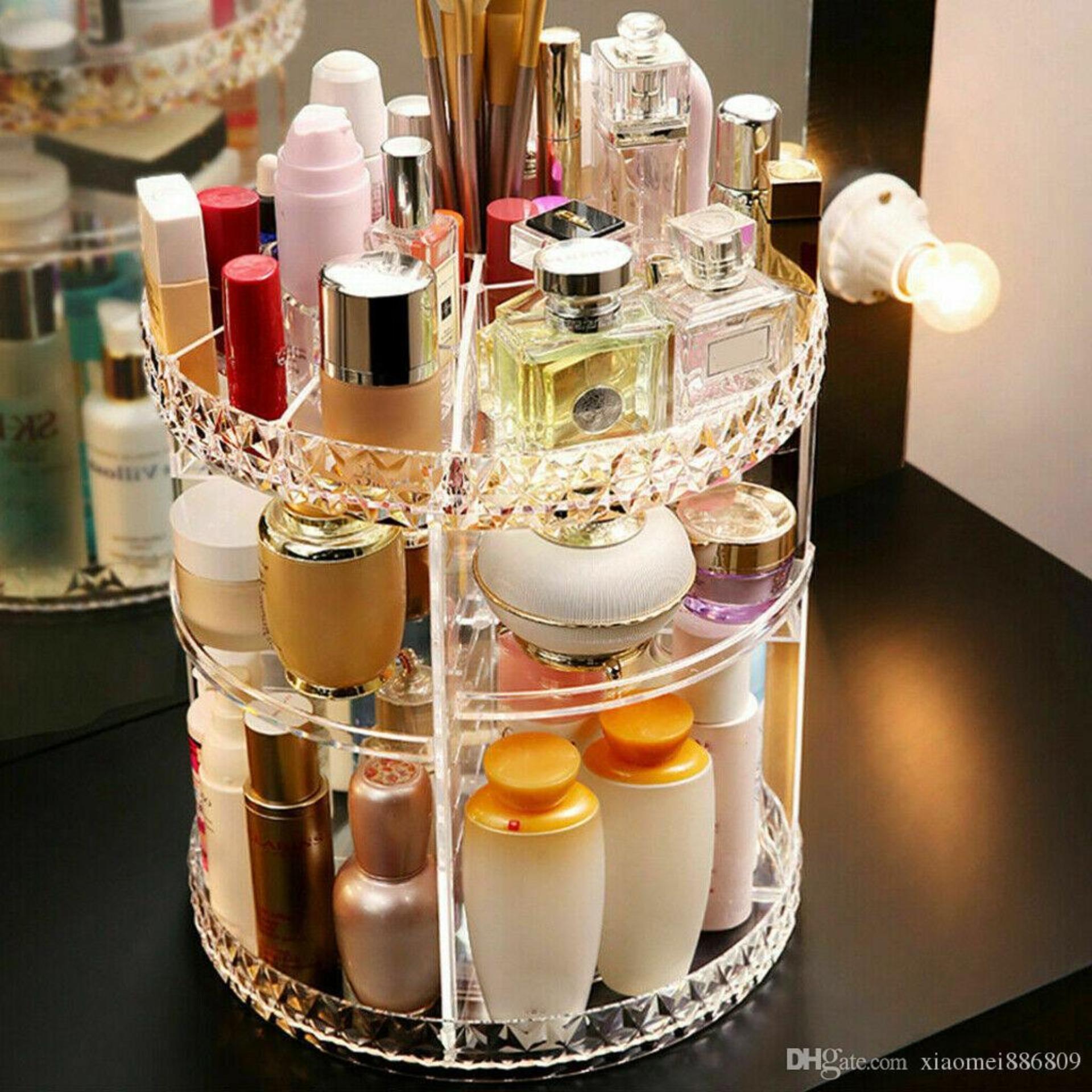 Women Makeup Organizer 360-Degree Rotating Cosmetic Storage Display Case Holder Creative Makeup Storage Boxes