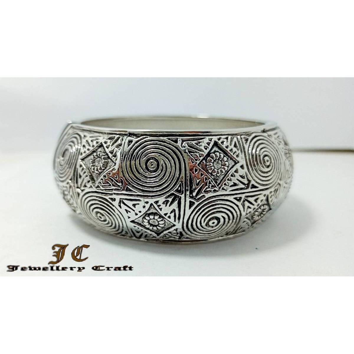 Antique Bangles Bracelet Clip On Silver --Jewellery Craft--
