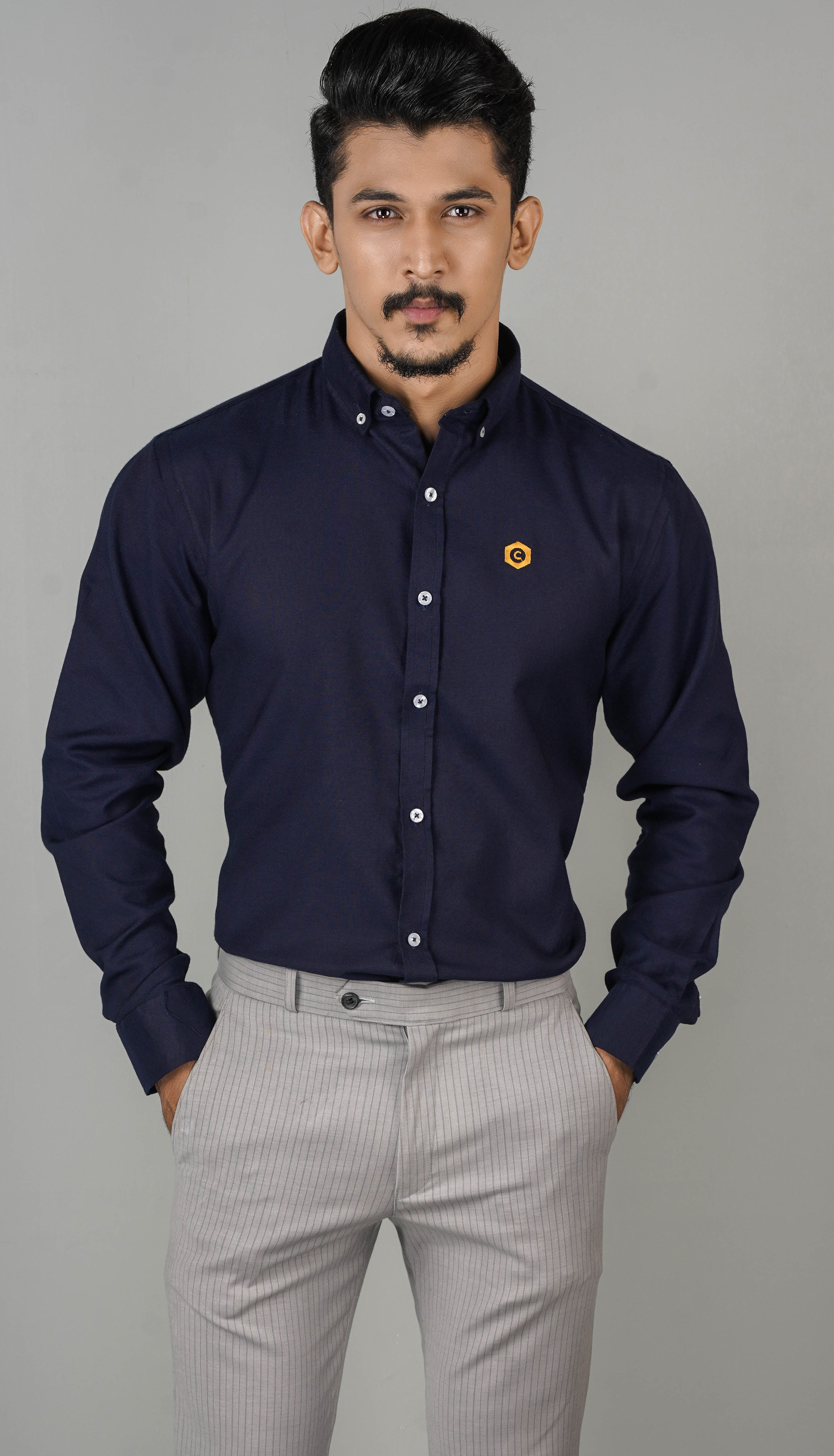 CODE Anchored Blue Printed Cotton Formal Shirt For Men SKU: CD-12