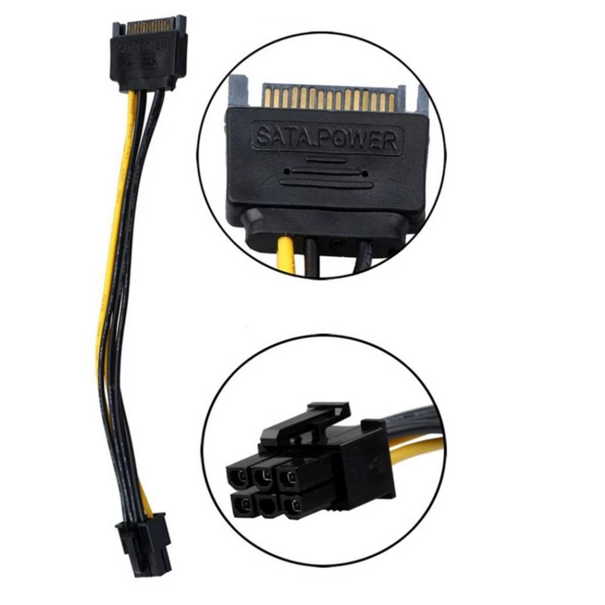 SATA Power Cable 15 Pin To 6 Pin PCI EXPRESS PCI-E Sata Graphics Converter Adapter Video Card Power Cable