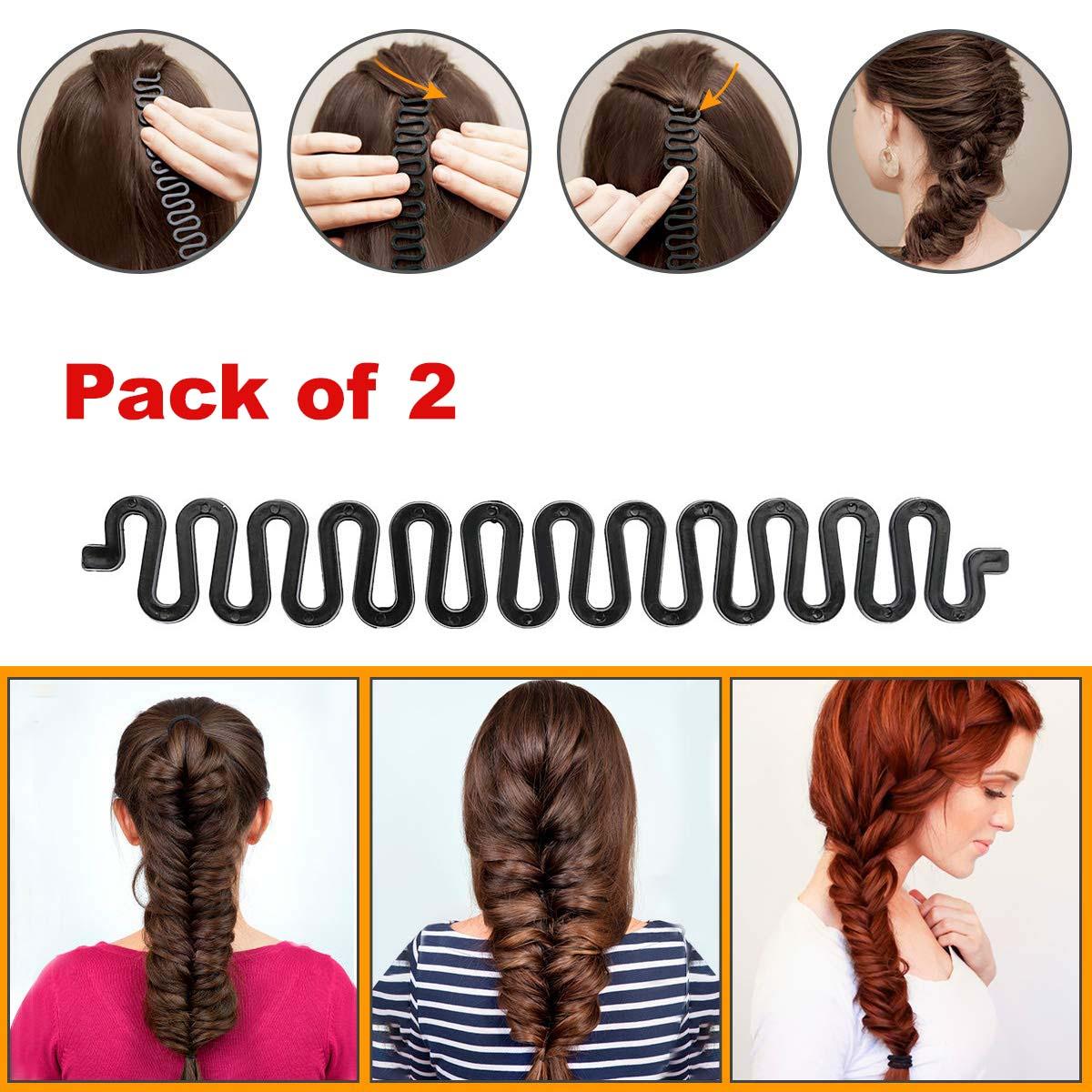 2pc Fashion Style Ponytail Curly Hair Braider DIY Twist Twister Braid Tool Magic French Hair Holder Clip Stick