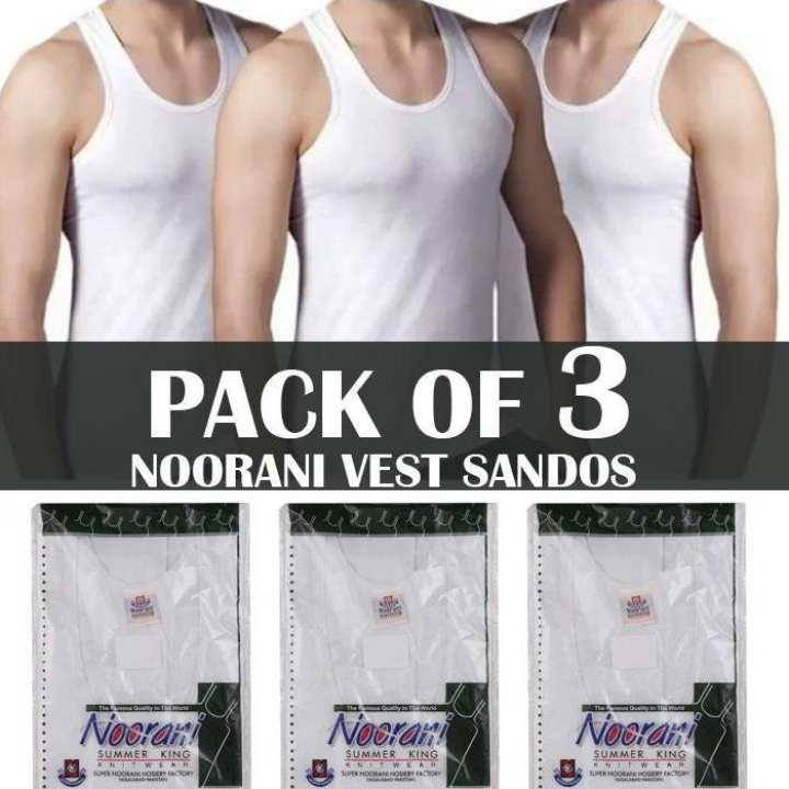 Pack of Three Noorani Vest Banyan Sando Inner wear - White