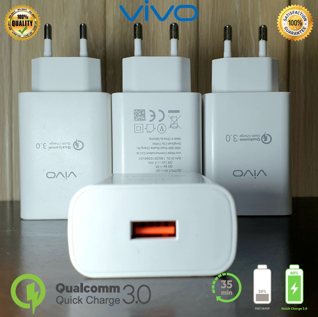 Vivo Fast Charger 22.5 Watt (5V/2A, 9V/2A, 10V/2.25A) QuickCharge3.0 - Compatible with Samsung, Huawei, Xiaomi, Oppo, Vivo and otherSmartphones
