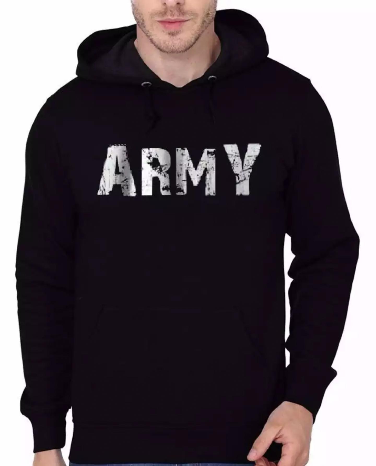 Army print black kangro hoodie