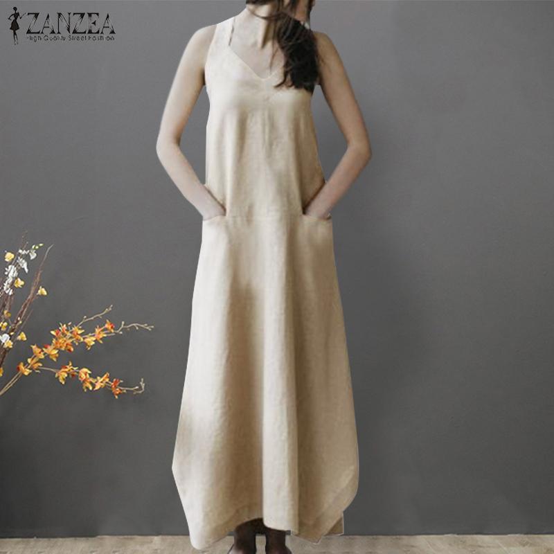 0fdcdbb655 Product details of ZANZEA Women Summer Strappy Long Maxi Sundress Kaftan  Holiday Club Beach Party Dress