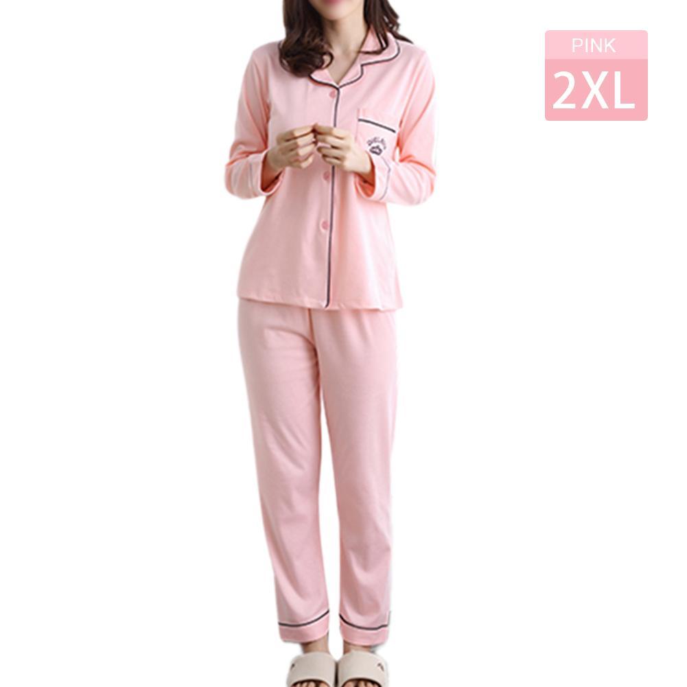 a8d54f3fe Cotton casual cardigan cute cartoon sweet pyjamas suit Pink 2XL