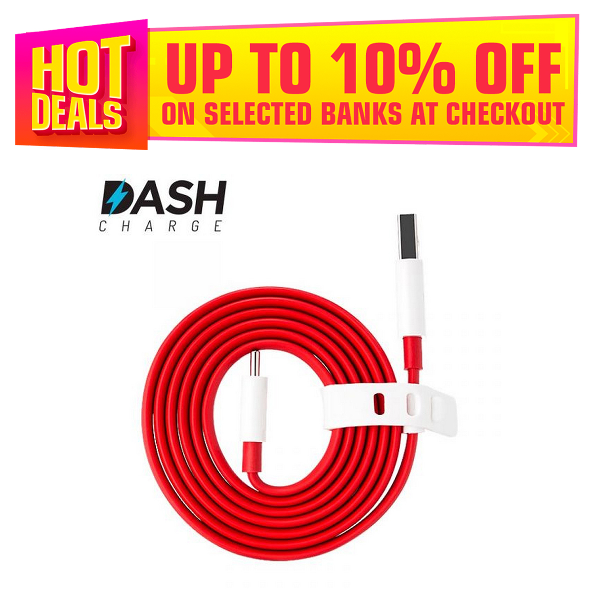 """ONEPLUS DASH CABLE 44W TYPE C CHARGING CABLE DATA CABLE (RED) """"TYPE C CABLE"""