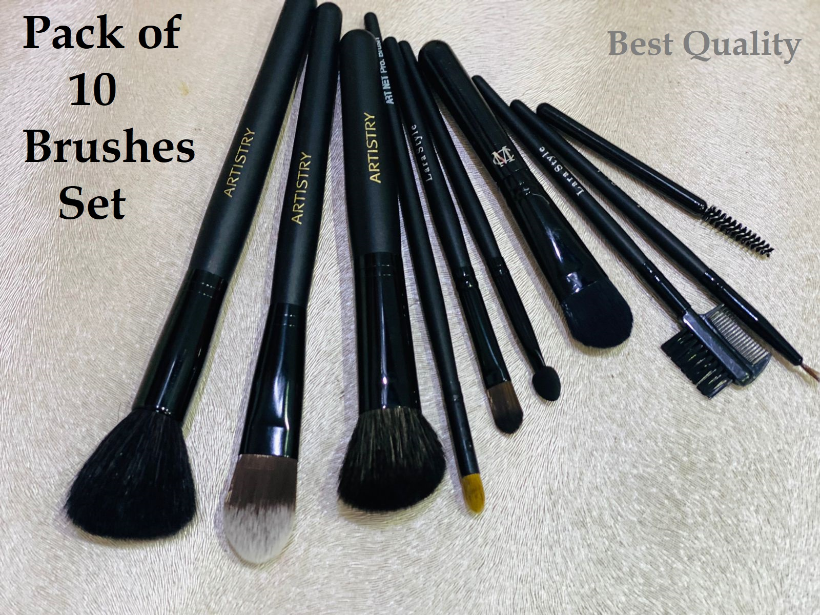 Pack of 1 (10 pieces per set) Makeup Brushes Set Beautiful & Soft Hair for Ladies & Girls