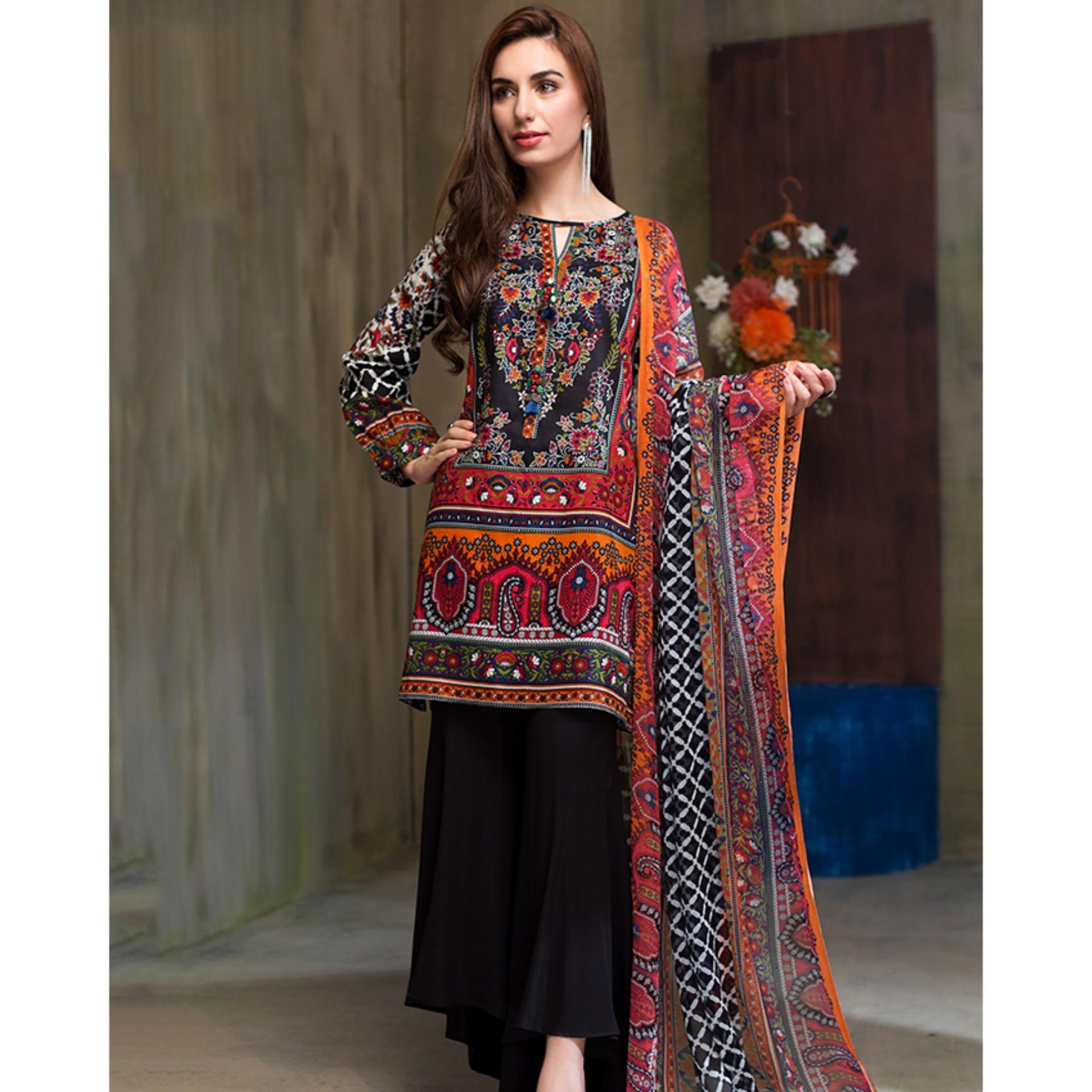 1e6b010ebe7 Floral Fantasy 2pc Unstitched Suit Black Lawn Collection Vol. 1 - U0271-2pc-