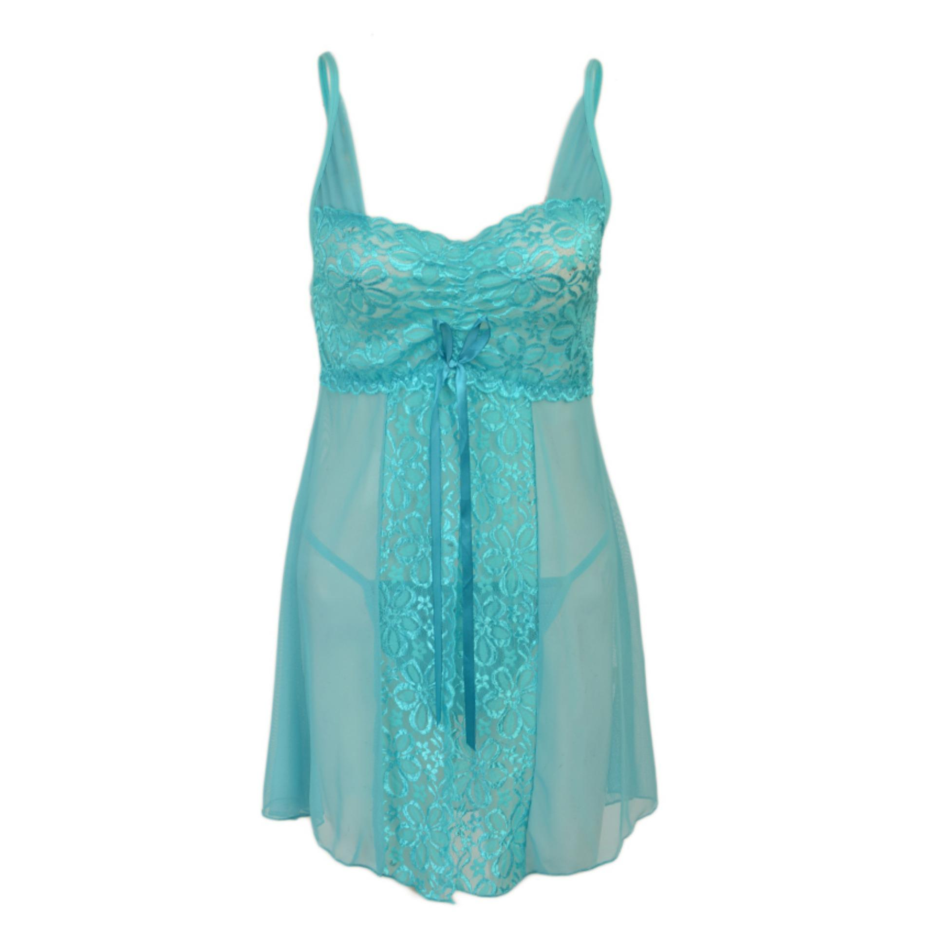 6e6184e79c70 Product details of Pack of 2 Short Front Open Floral Net Nighty and G-String  Panty for Women (Free Size) - Light Blue