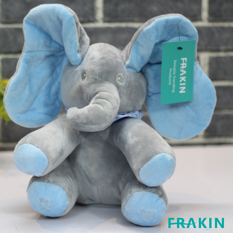 FRAKIN PEEK A BOO ELEPHANT TOYS BABYS ANIMATED FLAPPY PLUSH TOY SINGING STUFFED ANIMALS PEEKABOO