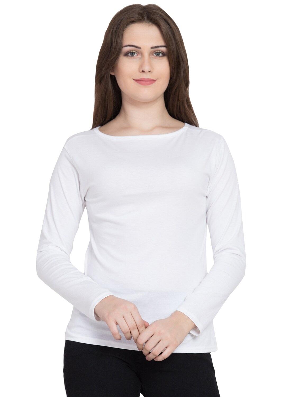 White full sleeve tee shirt for women WTS-03