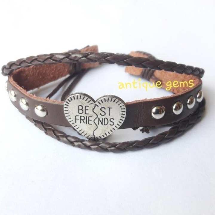 ALLOY Metal Broken Heart Best Friend Logo Bracelet For Men dark brown