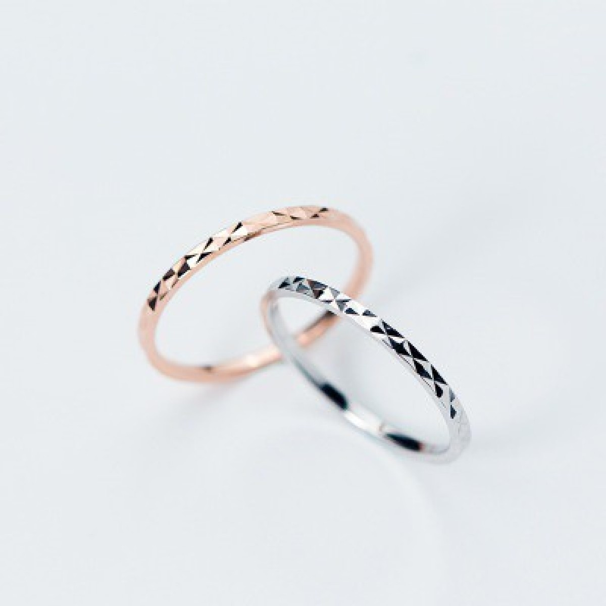 Silver & Golden Stainless Steel Simple Thin Ring Set For Women