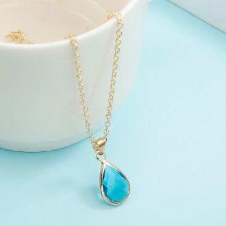 Natural Water Drop Pendant Necklace Druzy Quartz Gem Stone Crystal Diy Charm Necklace For Women