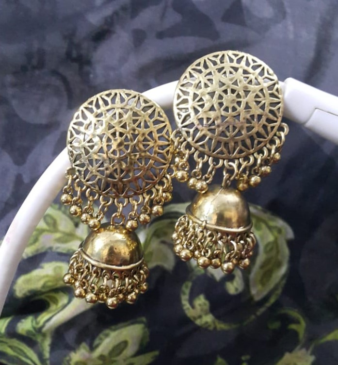 Silver Antique Ethnic Small Bell Drop Persian Jhumka Earrings for Women & Girls
