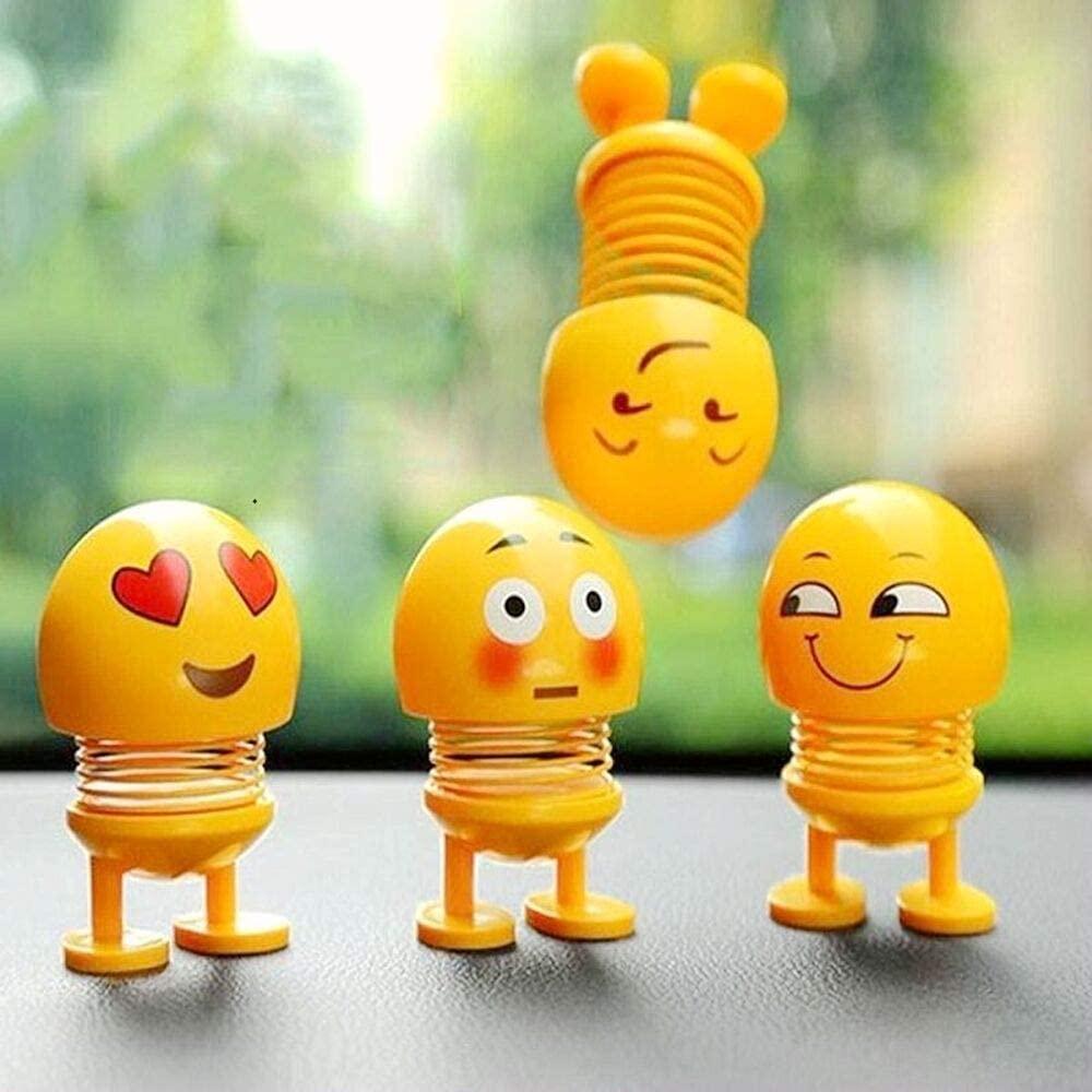 cute emoji mini cartoon funny emoji shaking head car accessories doll funny smiley spring dancing toy car decoration