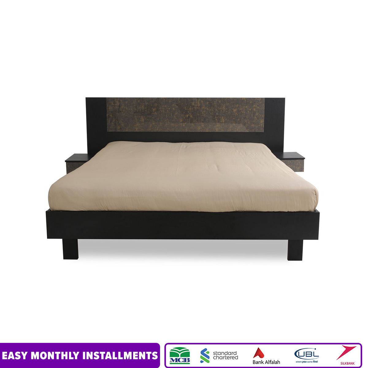 Habitt - Novak Bed with 2 attached drawers - King Sized Black Laminated Bed - (KHI-LHR-ISB Delivery Only)