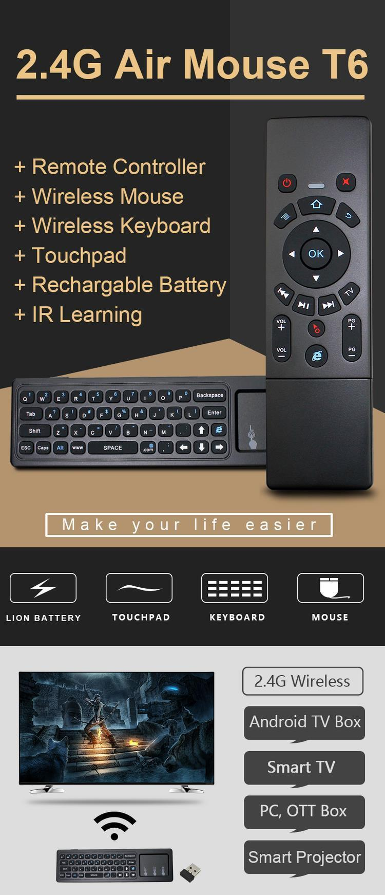 The Old Tree T6 2 4G Wireless Air Mouse Keyboard With Touchpad IR Learning  For Android TV Box/Xbox/PC/Smart TV