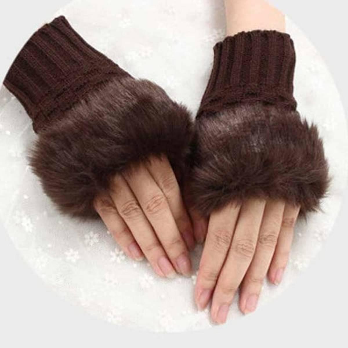 Wool Gloves Fancy Winter Women Grils wool glovs Gloves Knitting Woo wool glovs l Keep Warm Short Mitten Fingerless Lady Girl Half Finger Gloves Rabbit Lady hand Gloves KAAA1082