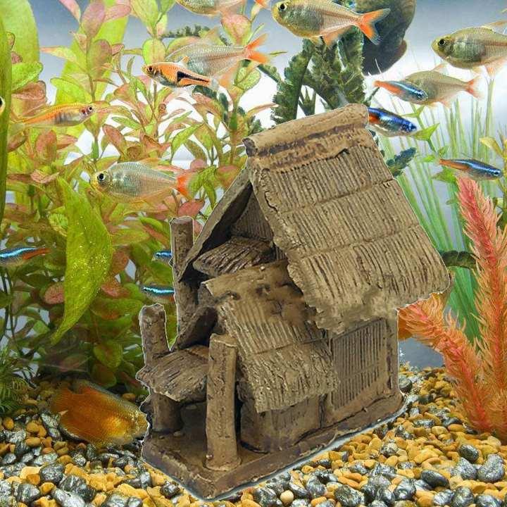 Aquarium Ceramic House Ornament Fish Tank Hiding Cave Shelter Landscape Decor
