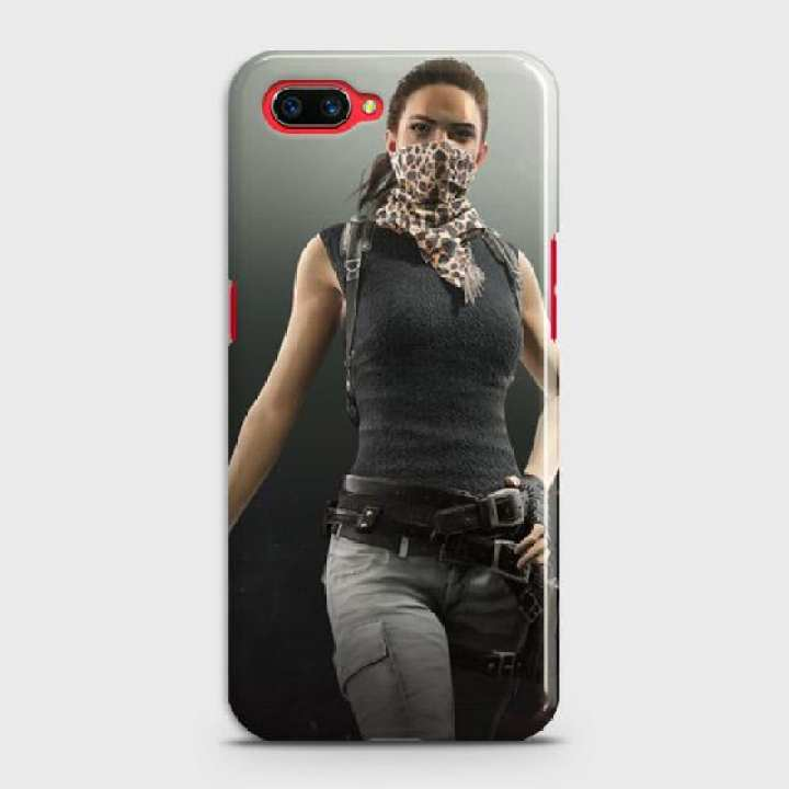 Oppo A3s Cover Pubg Female character Fancy Look Hard Cover- Design 8 Case