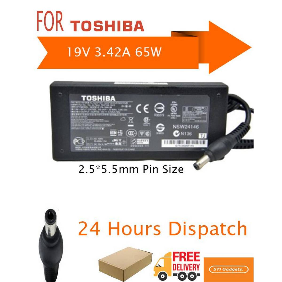 19V 3.42A 65W laptop AC power adapter charger for Toshiba Satellite C75