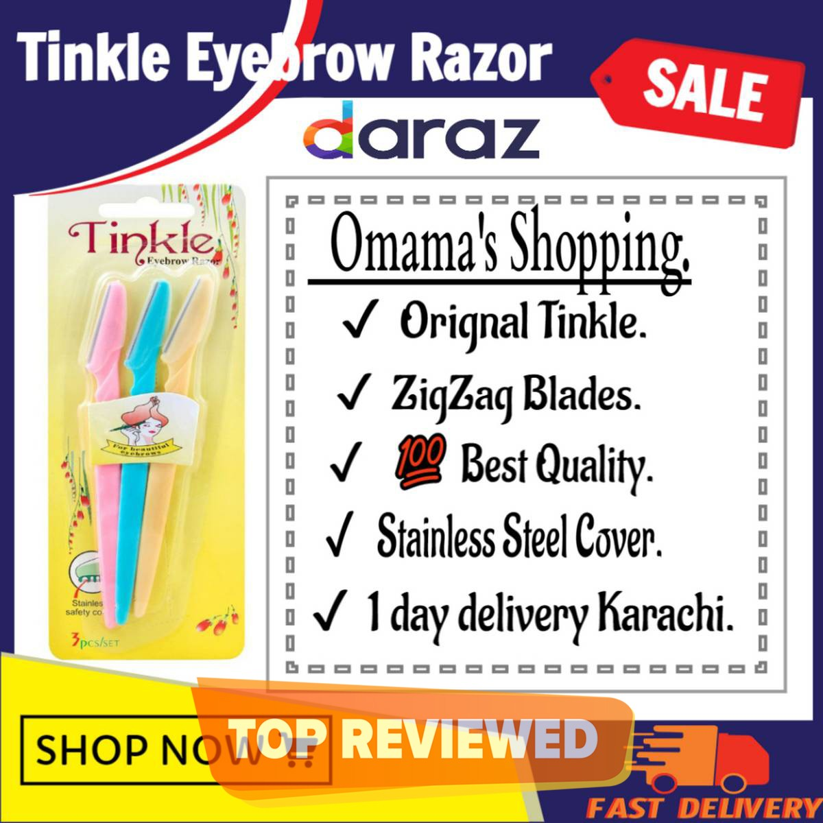 Tinkle Eyebrow Razor Colorful 3 Pack for face hair removal & Eyebrow shaper, 3Pcs Tinkle Original Eyebrow Razor Set with safety cover,