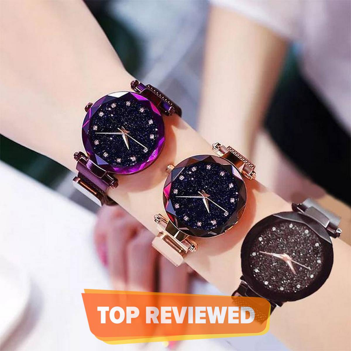 Eastern Pack of 3 Magnetic Chain Mesh Magnet Buckle Starry Sky Luxury Fashion Watch -F8000224