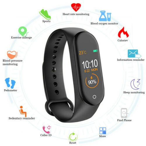 M4 Smart Watch Fitness Activity Tracker Smart Bracelet Pedometer Wrist band Heart Rate Monitor Smart Watch Men Women  Smartwatch Compatible for All Androids and iOS Phone pk M3