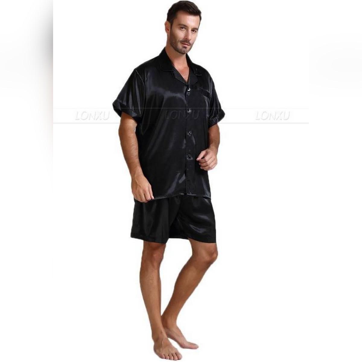 Sebastian silky satin Men's short sleeve shirt with boxer short 2 piece set pajama set  Supreme Mens Collection Vol 1 Soft against skin sleepwear