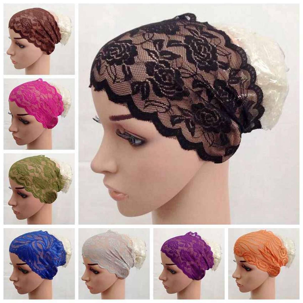 6 PCS Muslim Women Lace Hat Islamic Inner Caps Head wear Under scarf Hijab Head wear Wrap