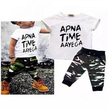 64fa96dfded1 Pack Of 2 Printed T-Shirt & Commando Trouser For Kids