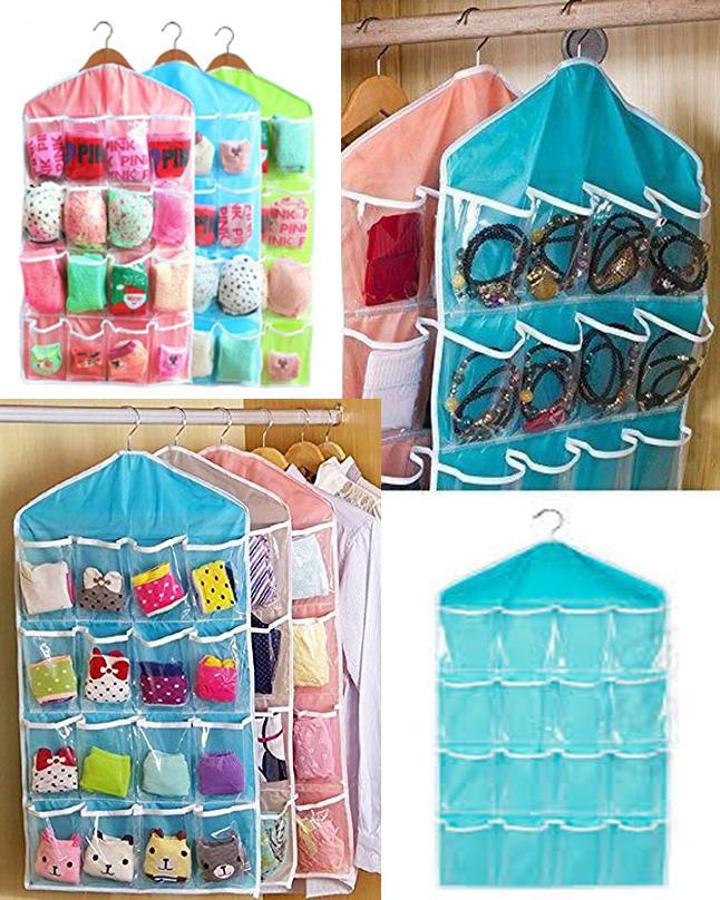 Multipurpose 16 Grid Storage Bag for Wardrobe - Clothing Socks Pants Jewelry And Stuffed Plush Toys