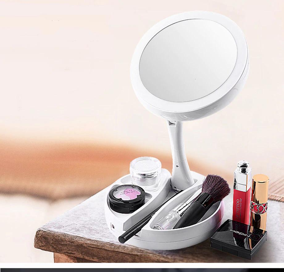 Mirror My Fold Away LED Mirror Care Professional Mirror with Lights Health Beauty Adjustable Portable